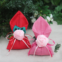 25pcs/lot Creative Linen Rose sugar bag Wedding Candy Box candy bags Calla Lily gift bag chocolate box Gift Bags Party Supplies