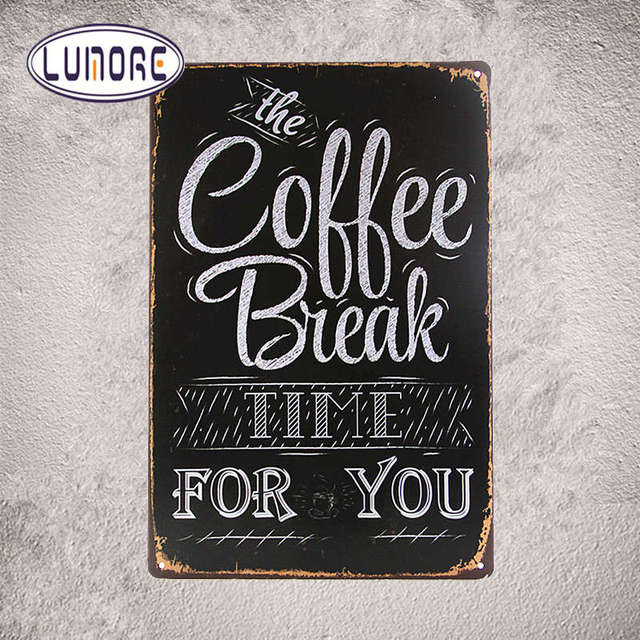 COFFEE BREAK Time For You 812inch Quote Tin Sign Metal Wall Decor