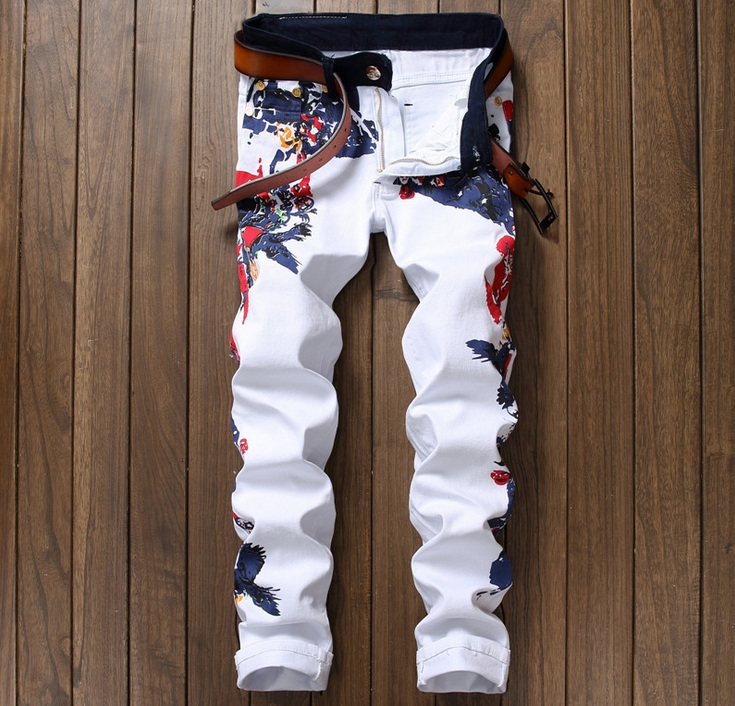 2017 European American Style men jeans 3D luxury Men's denim trousers zipper Slim straight white print jeans biker pants for men