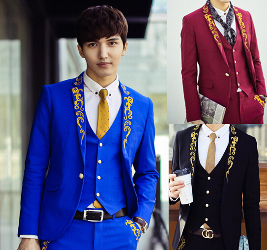 Buy Costume Homme 2015 Luxury Baroque Blazer Homens Black Red Blue And Gold