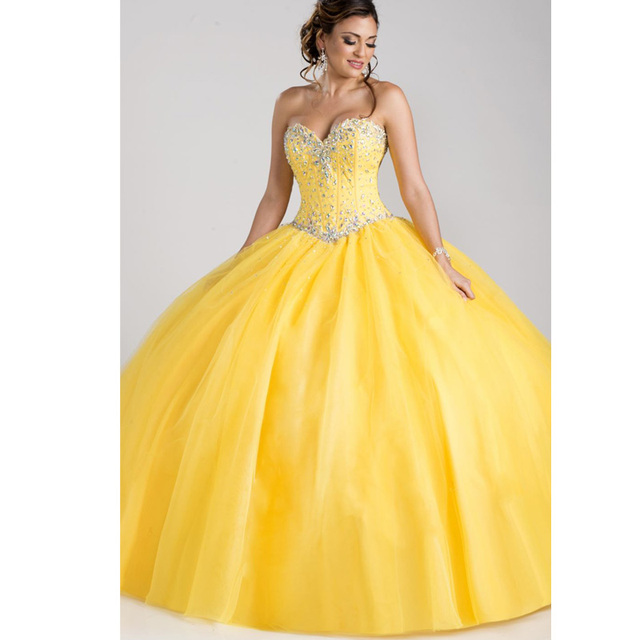 Superbe De Robe Bal Nouveauté Quinceanera Pas Cher Douce 16 Anos Perle 15 Cristal 2019 Vestidos Jaune Robes Princesse QrdWoexBC