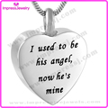 IJD9788 Blank Heart Pendant Necklace Words Engraved 316L Stainless Steel Cremation Urn Necklace Memorial Ashes Keepsake Jewelry
