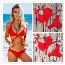 Сексуальные Ручной Работы Вязаные Bikinis Swimsuit Женщин 2017 Бразильский Бикини Установить Бинты Одежда для Пляжа Купальный костюм Push Up Купальники