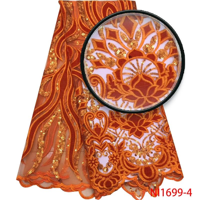 Gebrande Oranje Franse NigerianTulle Kant Nieuwe Mode Pailletten Lace Stoffen Hoge Kwaliteit Fluweel Kant voor Bruiloft Jurk NI1699-in Kant van Huis & Tuin op  Groep 1
