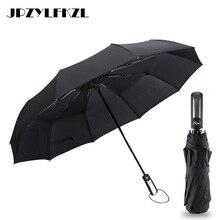 2018 Hot Sale Wind Resistant Fully-automatic Umbrella 3 Folding 10 Ribs Fiberglass Strong Windproof Rain For Women Men Paraguas