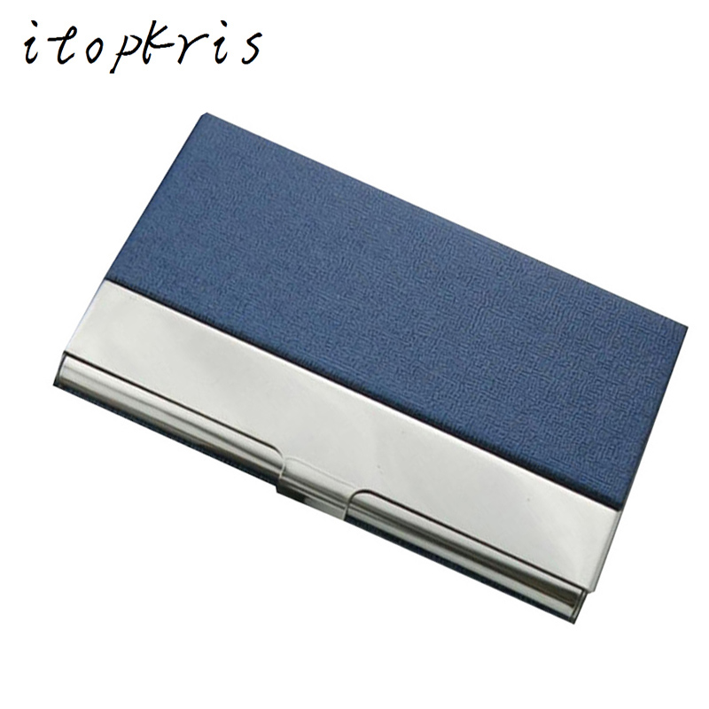 Aluminum PU Leather Business Credit Card Holder For Women Men Steel Portable ID Name Card Bank Male Cardholder business card holder women vogue thumb slide out stainless steel pocket id credit card holder case men