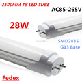 15pcs/Lot T8 5Ft led tube 1500mm 28W G13 SMD2835 Led Chip 1.5M Light Tubes Milky/Clear Cover AC85v-265v White Tube Led Light