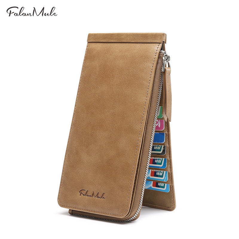 2018 FALAN MULE Purse Men Wallets Long Men Purse Wallet Male Clutch Genuine Leather Wallet Men Business Male Wallet Coin Purse falan mule genuine leather men wallets short coin purse small vintage men s wallet cowhide leather card holder pocket purse