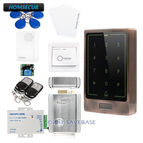 HOMSECUR Waterproof Zinc Alloy Case & Organic Glass Panel Access Control System + Electric Control Lock