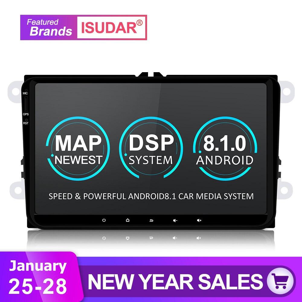 Isudar Универсальная Штатная Автомагнитола мультимедийное радио с видеорегитратора 1 Din на Android 8.1 для автомобилей VW/Volkswagen/passat b6B7/Golf 5 6/Skoda/Seat с п...