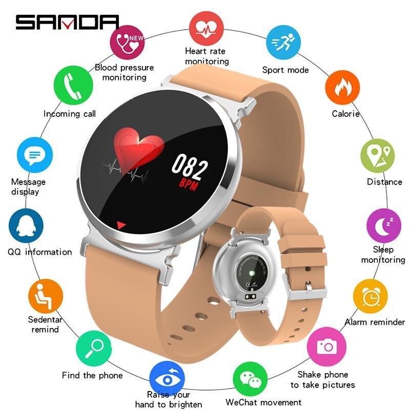 SANDA New Bluetooth Sports Smart Watch Men Heart Rate Blood Pressure Oxygen Smartwatch Women for IOS