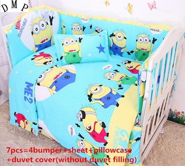 Discount! 6/7pcs Baby crib bedding set cot cot bedding set 100% cotton bed linen baby bedclothes ,120*60/120*70cm promotion 6 7pcs cot baby bedding sets baby product crib bedding set bed linen baby bumper baby bumper 120 60 120 70cm