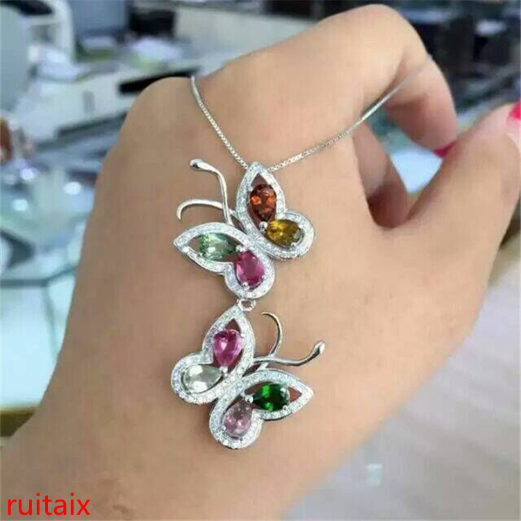 KJJEAXCMY boutique jewels S925 silver rose tourmaline star pendant jewelry natural gem gift box chain parcel post.KJJEAXCMY boutique jewels S925 silver rose tourmaline star pendant jewelry natural gem gift box chain parcel post.