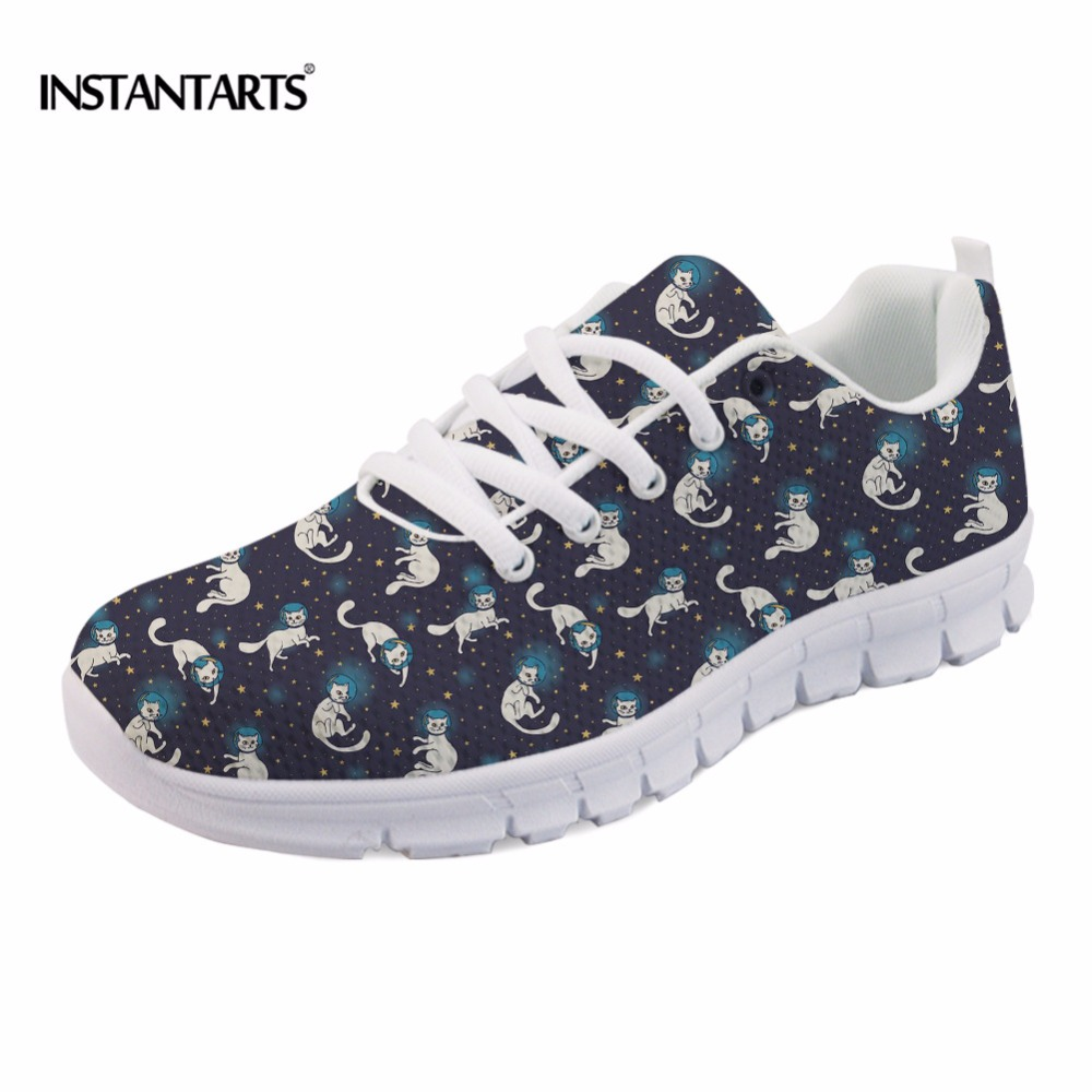 INSTANTARTS New Woman Breathable Flat Shoes Cute Kitty Cat Design Lace Up Sneakers Girls Lady Leisure Lace Up Flats Female Shoes instantarts fancy flamingos women flat sneakers comfortable spring woman casual lace up flats air mesh breathable students shoes