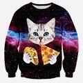 2015 nova moda mulheres / homens 3d camisola gato impresso pizza Galaxy camisolas das mulheres harajuku hoodies roupas