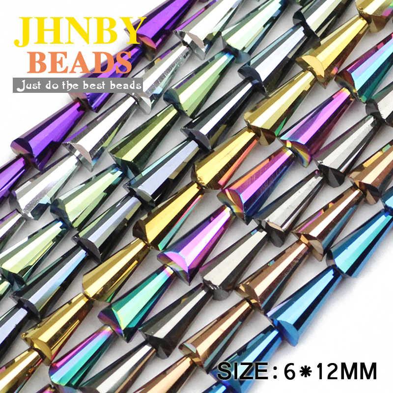 JHNBY Torre a forma di perline di cristallo Austriaco Conico Guglia allentati perle di vetro 6*12 millimetri 48pcs del Braccialetto Monili Che Fanno accessori FAI DA TE