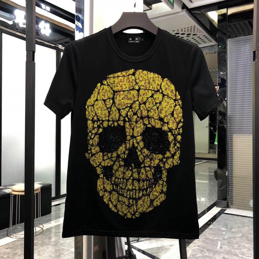 Hommes Slim Fit cristal grand crâne imprimé T-shirt col rond or et argent T-shirt Top hommes Designer T-shirt nouvelle marque vêtements