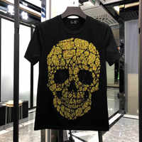 Men's Slim Fit Crystal Big Skull Printed T-shirt Crew Neck Gold&Silver Tshirt Tee Top Men Designer T shirt New Brand Clothing
