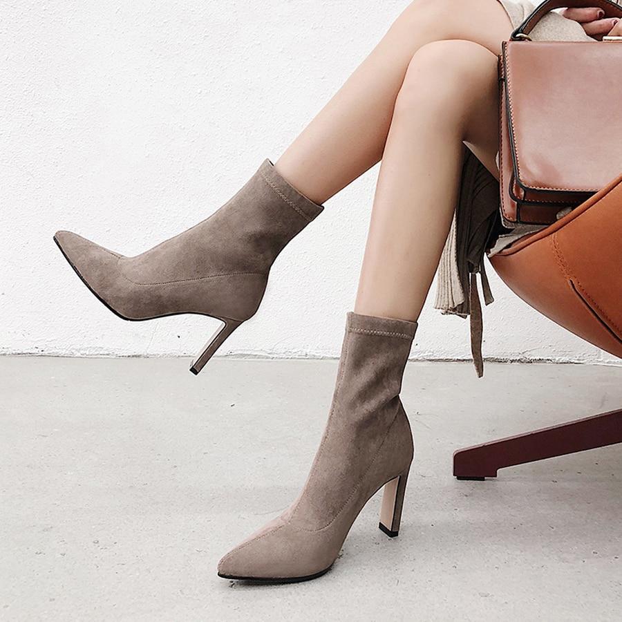 Sur Hiver Couleur Mouton Bottines La Perfetto Talons Pic Glisser Unie marron as Automne Hauts Nouveau Chaussures Noir 2018 Prova Femmes Bottes Mode Noir Daim Oq0xTXOt