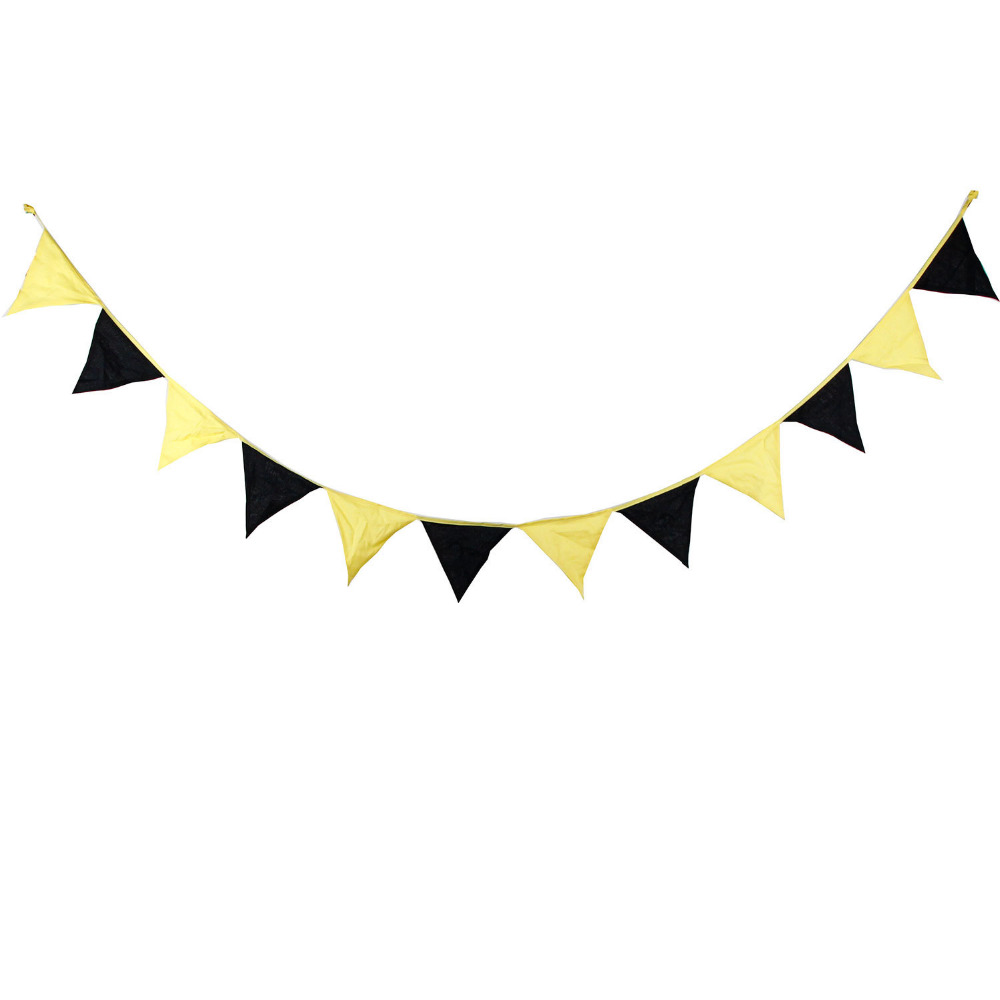 1pcs 3.2M Black Yellow Double Color Home Decoration Bunting ...