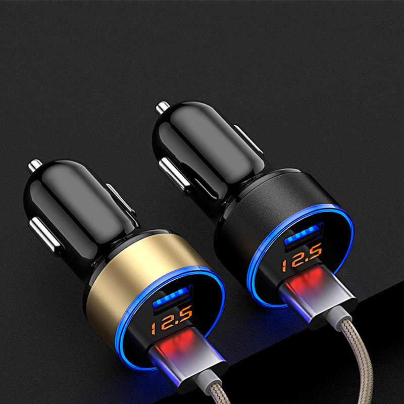 Universal 5V 3.1A Car Charger With LED Display Dual USB Phone Car-Charger for Samsung iPhone X XS  Huawei Xiaomi Charger