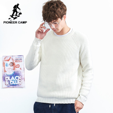 Pioneer camp new winter warm sweater brand clothing solid simple pullover male cotton