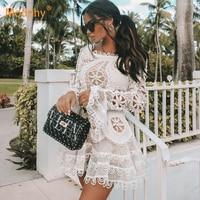 2019 new elegant white lace openwork chiffon dress sexy women's long sleeve mini fishtail dress celebrity party dress Vestidos