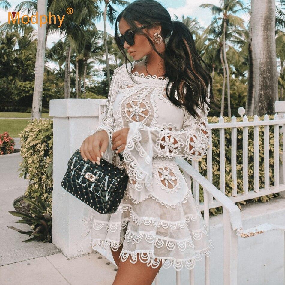 2019 nouvelle élégante dentelle blanche ajouré en mousseline de soie robe sexy femmes à manches longues mini queue de poisson robe célébrité robe de soirée Vestidos
