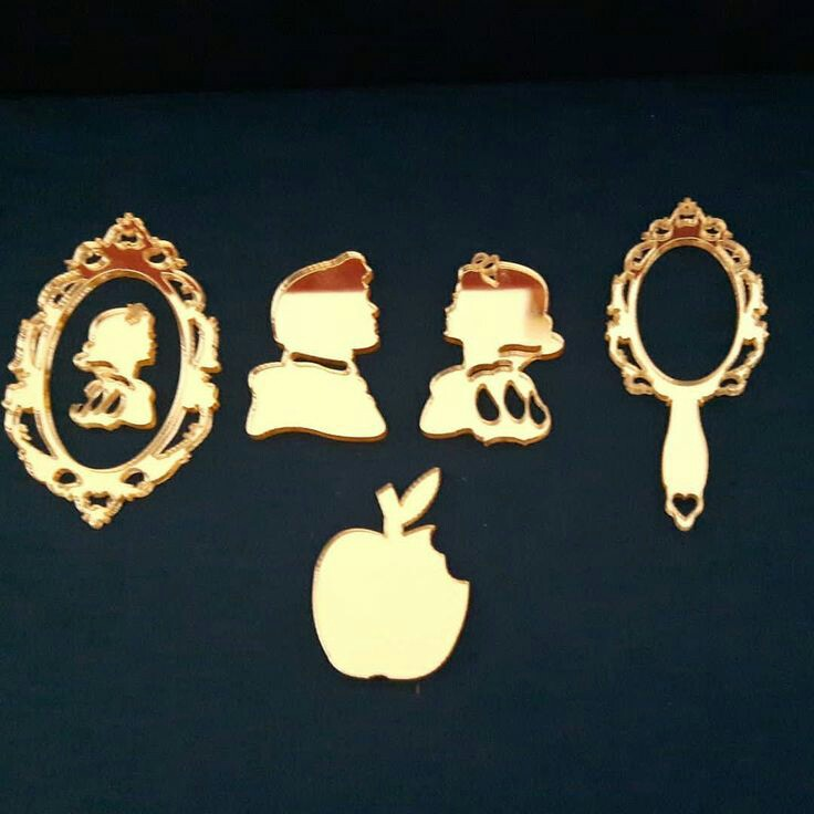 30pcs Custom Made Gold Acrylic Snow White Eaten Apple Mirror For A Party
