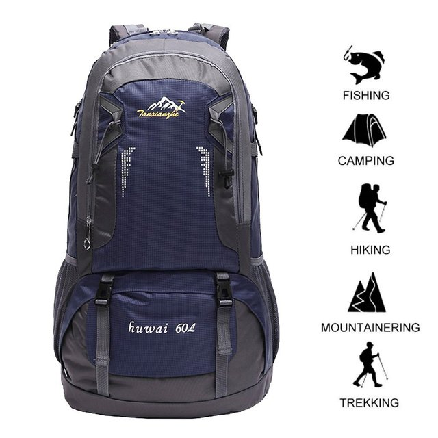 57c837a98076 Extra Large 60L Nylon Waterproof Mountaineering Backpack Outdoor Sport  Climbing Hiking Traveling Picnic Bag Rucksack