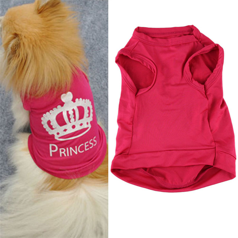 2016 Hot pink Pet Dog Cat clothes Summer vest T shirt Crown design puppy doggy outfit apparel drop shipping on sale