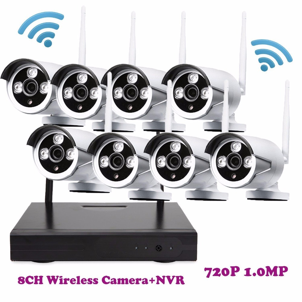 8PC IP Camera WiFi Security Camera Alarm System Night Vision NVR Kit 8CH ONVIF NVR Outdoor Wireless CCTV Video Home Security Kit