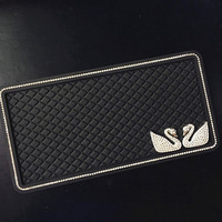 Car Swan Anti Slip Mat Silicone for Mobile Phone mp4 GPS Diamond Non-slip Mat Crystal Double Swans for Benz Audi Opel Kia Skoda