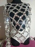 Spalking кристаллы бинты боди полые костюм Bling камни Для женщин черный, белый цвет Платья для вечеринок праздновать случаю одежда