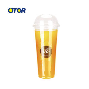 OTOR Wholesale 10pcs 17oz 22oz Clear Disposable Cups Plastic Tea Coffee water Cup with Lids for Iced Coffee Bubble Boba Smoothie