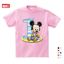 2019 Childrens birthday number 1~9 Mickey cartoon shirt cotton T-shirt boy and girl gift baby clothes 3-9 years old