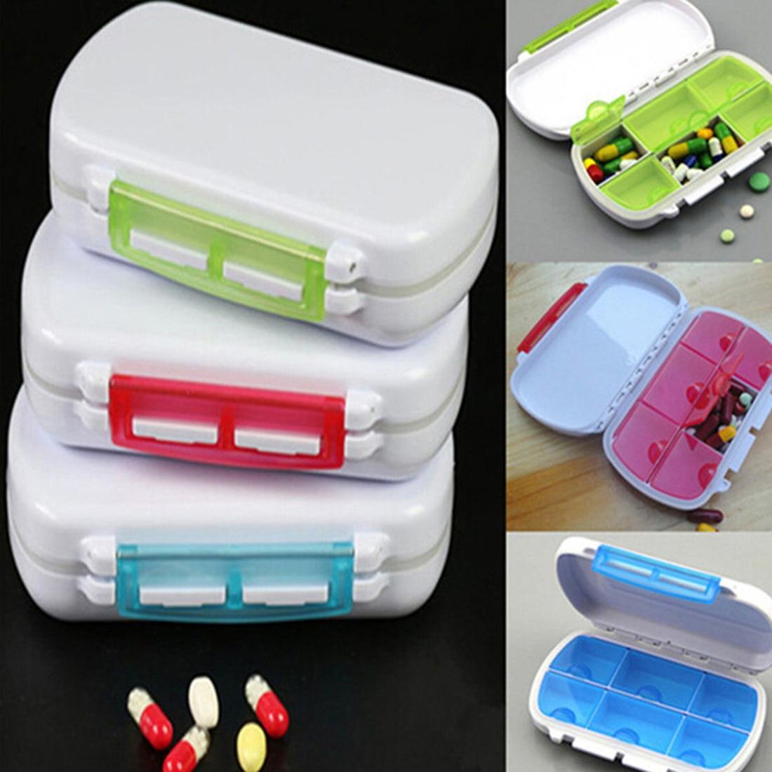 Top Cute Mini 6 Slots Portable Medical Pill Box Drug Tablet Medicine Storage Dispenser H ...