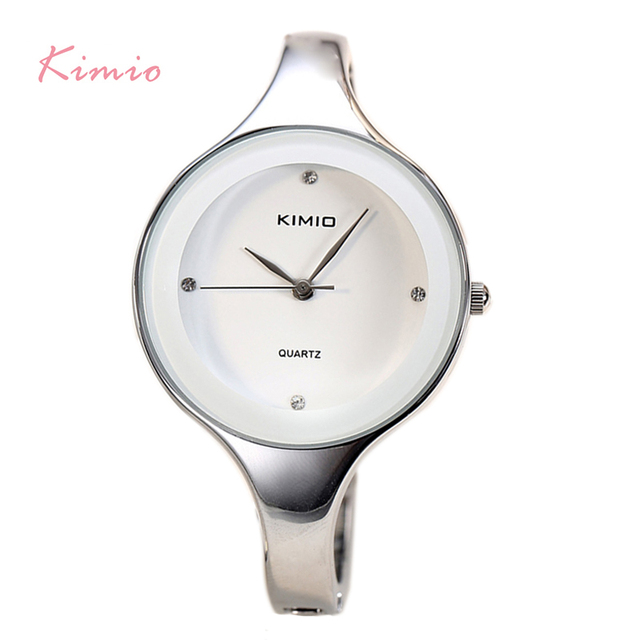 KIMIO Brand Women Classic White Bracelet Watches Stainless Steel Ladies Big Dial Quartz Watches Clock Female Dress montre femme