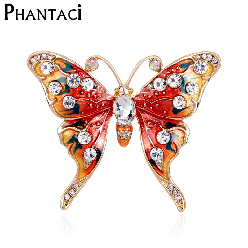 Trendy Enamel Red Butterfly Brooch Corsages Jewelry Shining Crystal Vintage Brooch Crystal Big Broches Scarf Clothes Hijab Pins