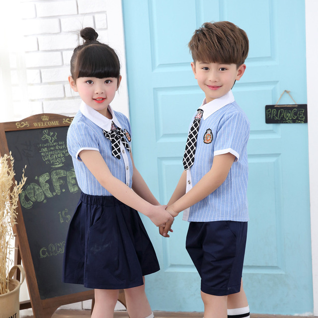 9207e374e0 Verano ropa adolescente para Unisex niños niñas traje uniformes escolares  blanco Turn-down Collar Camisas