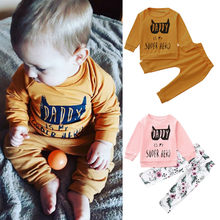Lettered Baby Boy Clothes Suits Casual Toddler Baby Boy Girl Tops T-shirt Pullover Sweatshirt+Pants Clothes Set Autumn Kids Set(China)