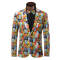 Блейзер Мужская Новое Прибытие 2016 Пром Slim Fit Пиджаки Homens смешно Печатных Модные Стильные Блейзеры Мужские Плюс Размер 6XL Костюмы барокко