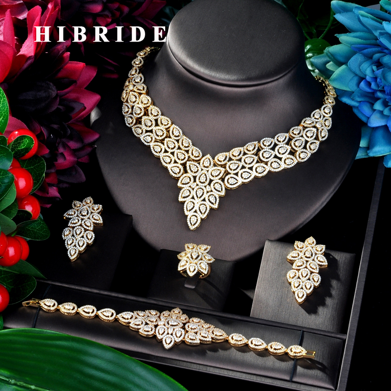 HIBRIDE Big Flower Design Fashion Gold Color Women Bridal Jewelry Set Dress Necklace Earring Jewelry Set For Party Gits N-885HIBRIDE Big Flower Design Fashion Gold Color Women Bridal Jewelry Set Dress Necklace Earring Jewelry Set For Party Gits N-885