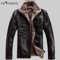 FreeShipping Hot Sale Winter Thick Leather Garment Casual Flocking Leather Jacket Men's Clothing Leather Jacket Men 13M0673