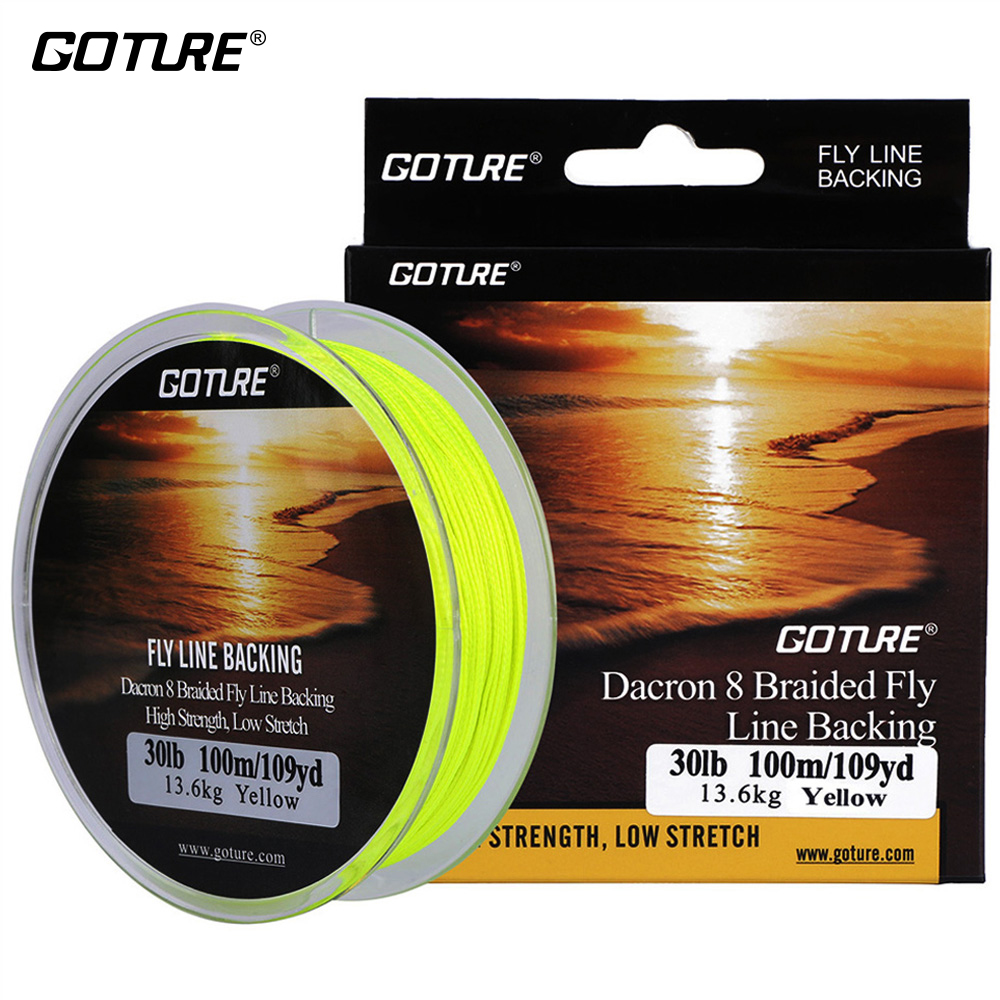 Goture 100m 109yrd fly fishing backing line 8 strands 20lb for Fly fishing backing