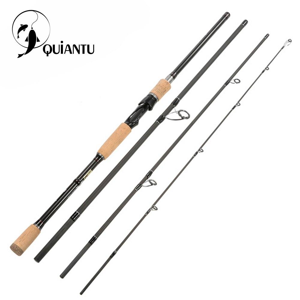 Caña de pescar QUIANTU, caña de pescar de carbono portátil, caña de hilar 2,1 m 2,4 m 2,7 m 3,0 m caña de pescar de carbono 4 secciones Barra de alimentador