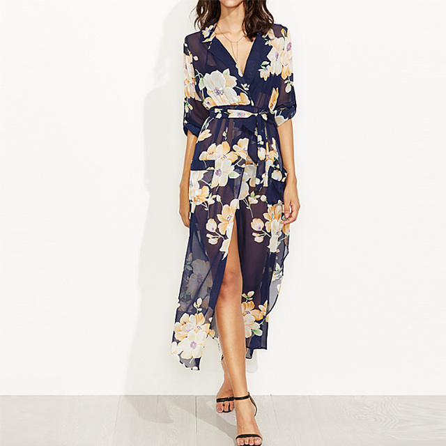 af33556a7c7 Womens Boho Floral Long Maxi Dress Long Sleeve Plunge V Neck See Through Split  Shirt Dresses Casual Beach Sundress With Belt