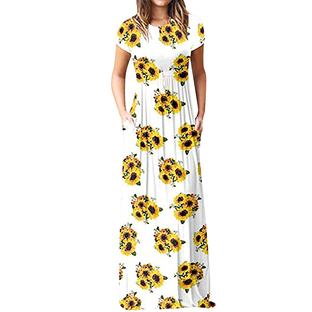 US $5.33 25% OFF|Dress women plus size 2018 Casual sunflower Printed  Dresses Short Sleeve Floor Length Maxi Dress Female Vestidos /PY-in Dresses  from ...