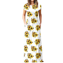 0b424fdeec (Ship from US) Feitong Dress women plus size 2018 Casual sunflower Printed  Dresses Short Sleeve Floor-Length Maxi Dress Female Vestidos  PY