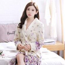 2017 Winter Lavender Print Flannel Warm Pajamas Women Sexy Towel Robe Soft Coral Fleece Bathrobe Sleepwear Spa